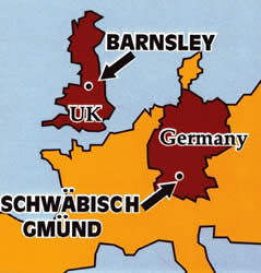 Map of Europe pointing out Barnsley and Schwäbisch Gmünd